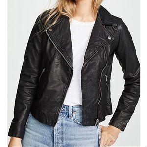 Madewell Washed Leather Motorcycle Jacket Black